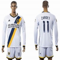 Los Angeles Galaxy #11 ZARDES White Home Long Sleeves Soccer Club Jersey