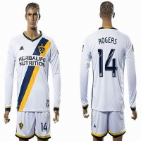 Los Angeles Galaxy #14 ROGERS White Home Long Sleeves Soccer Club Jersey
