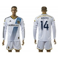 Los Angeles Galaxy #14 Rogers Home Long Sleeves Soccer Club Jersey