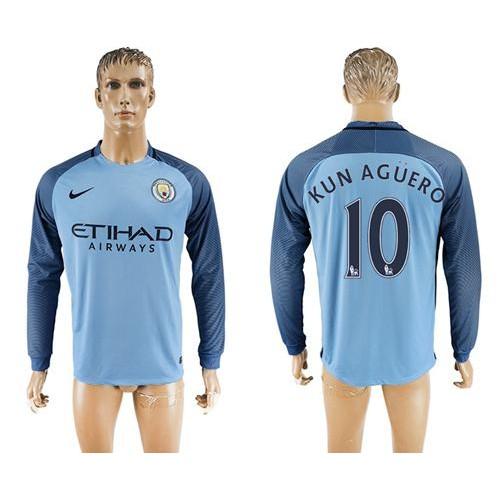 0508fa281 Manchester City  10 Kun Aguero Home Long Sleeves Soccer Club Jersey
