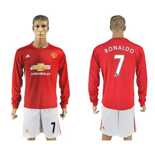 27477b03038 Manchester United  7 Ronaldo Red Home Long Sleeves Soccer Club Jersey