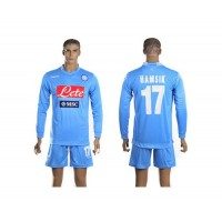 Naples #17 Hamsik Blue Home Long Sleeves Soccer Club Jersey