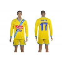 Naples #17 Hamsik Yellow Away Long Sleeves Soccer Club Jersey