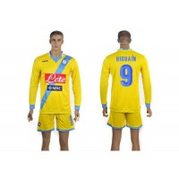 Naples #9 Higuain Yellow Away Long Sleeves Soccer Club Jersey