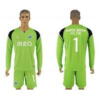 Oporto #1 Helton Green Goalkeeper Long Sleeves Soccer Club Jersey