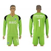 Oporto #1 I.Casillas Green Goalkeeper Long Sleeves Soccer Club Jersey