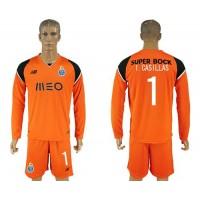 Oporto #1 I.Casillas Orange Goalkeeper Long Sleeves Soccer Club Jersey