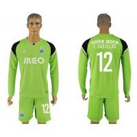 Oporto #12 I.Casillas Green Goalkeeper Long Sleeves Soccer Club Jersey