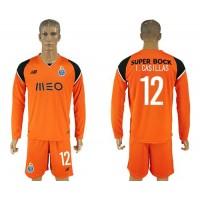Oporto #12 I.Casillas Orange Goalkeeper Long Sleeves Soccer Club Jersey