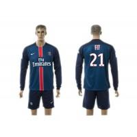 Paris Saint-Germain #21 Fit Home Long Sleeves Soccer Club Jersey