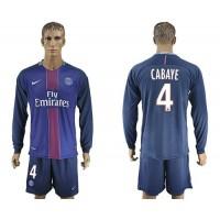 Paris Saint-Germain #4 Cabaye Home Long Sleeves Soccer Club Jersey