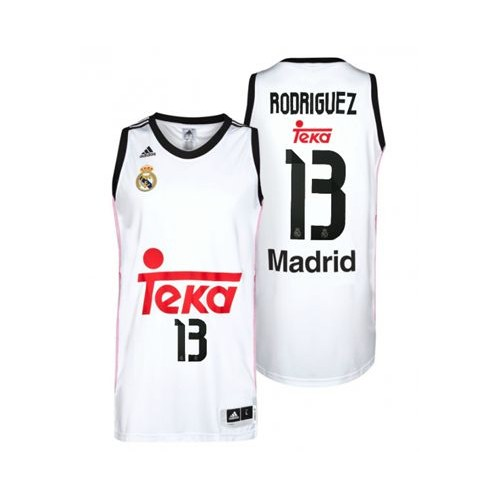 sports shoes f7794 bb734 Real Madrid #13 Rodriguez White Home Basketball Jersey