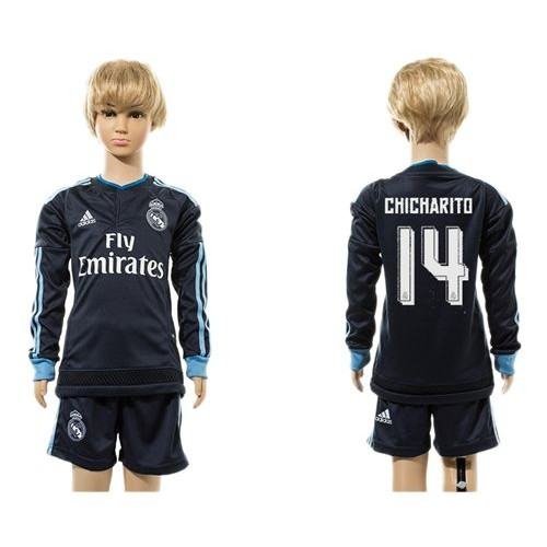 0e62e0f6b Real Madrid  14 Chicharito Navy Blue Long Sleeves Kid Soccer Club Jersey