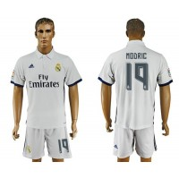 Real Madrid #19 Modric White Home Soccer Club Jersey