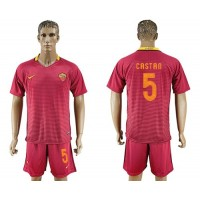 Roma #5 Castan Red Home Soccer Club Jersey