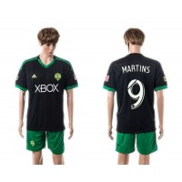 Seattle Sounders #9 Martins BlackGreen Shorts Soccer Club Jersey