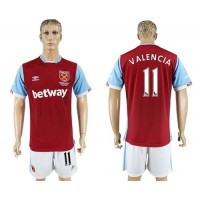 West Ham United #11 Valencia Home Soccer Club Jersey