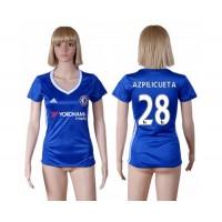 Women's Chelsea #28 Azpilicueta Home Soccer Club Jersey