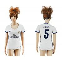 Women's Real Madrid #5 Zidane Home Soccer Club Jersey
