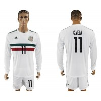 Mexico #11 C.Vela Away Long Sleeves Soccer Country Jersey