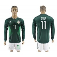Mexico #11 C.Vela Home Long Sleeves Soccer Country Jersey