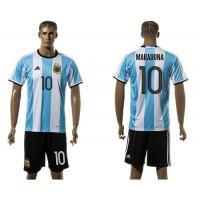 Argentina #10 Maradona Home Soccer Country Jersey