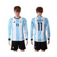 Argentina #11 Aguero Home Long Sleeves Soccer Country Jersey