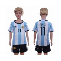 Argentina #11 Tevez Home Kid Soccer Country Jersey