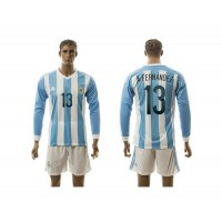 Argentina #13 A.Fernandez Home Long Sleeves Soccer Country Jersey