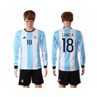 Argentina #18 Lamela Home Long Sleeves Soccer Country Jersey