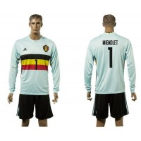 Belgium #1 Mignolet Away Long Sleeves Soccer Country Jersey