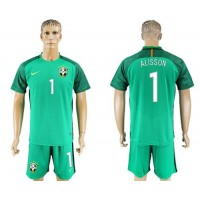 Brazil #1 Alisson Green Goalkeeper Soccer Country Jersey
