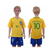 Brazil #10 Ronaldinho Home Kid Soccer Country Jersey