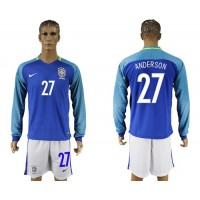 Brazil #27 Anderson Away Long Sleeves Soccer Country Jersey