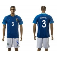 Brazil #3 Miranda Away Soccer Country Jersey