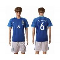 Brazil #6 R.Carlos Away Soccer Country Jersey
