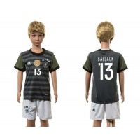 Germany #13 Ballack Away Kid Soccer Country Jersey