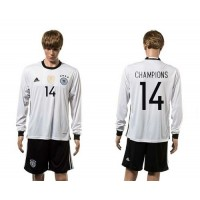 Germany #14 Champions White Home Long Sleeves Soccer Country Jersey