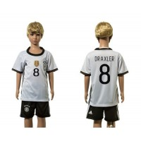 Germany #8 Draxler White Home Kid Soccer Country Jersey