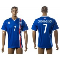 Iceland #7 Gudmundsson Home Soccer Country Jersey