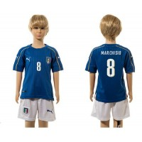 Italy #8 Marchisio Blue Home Kid Soccer Country Jersey