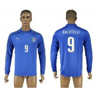 Italy #9 Balotelli Blue Home Long Sleeves Soccer Country Jersey
