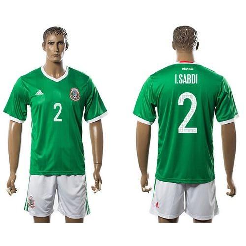 Mexico  2 I.Sabdi Green Home Soccer Country Jersey 8622e35fd44