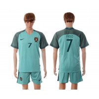 Portugal #7 Figo Away Soccer Country Jersey