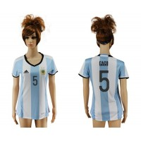 Women's Argentina #5 Gago Home Soccer Country Jersey