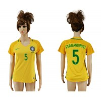 Women's Brazil #5 Fernandinho Home Soccer Country Jersey