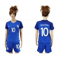 Women's France #10 Benzema Home Soccer Country Jersey