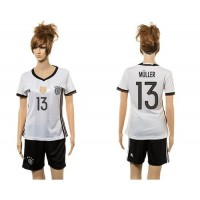 Women's Germany #13 Muller White Home Soccer Country Jersey