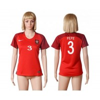 Women's Portugal #3 Pepe Home Soccer Country Jersey