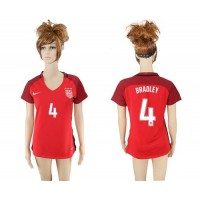 Women's USA #4 Bradley Away Soccer Country Jersey